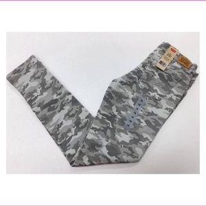 Levis Girls 710 Super Skinny Denim Jeans GRAY CAMO
